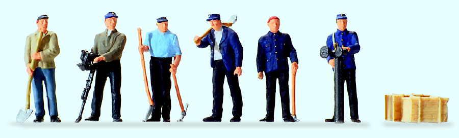 Stehende Gleisbauarbeiter
