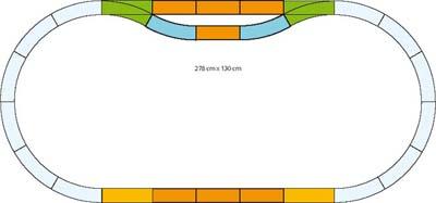 278x130cm, 2 Weichen, 2 Bogen, 9 Gerade