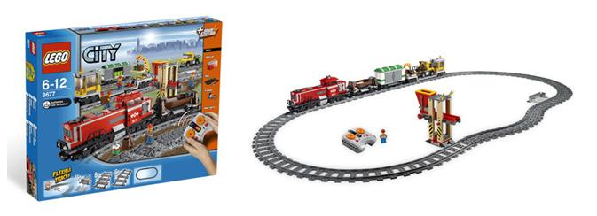 Diesellok, 3x Güterwagen, Containercran, LKW, Gleisoval mit Lade