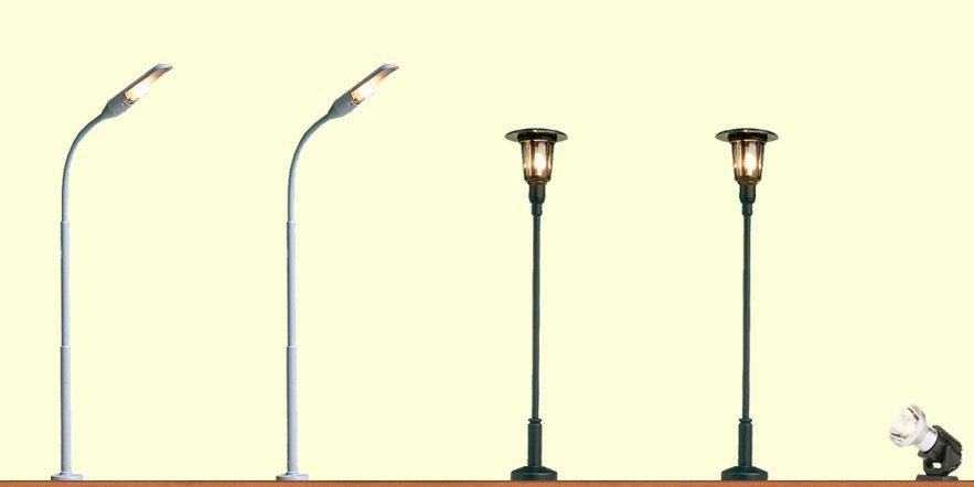 Stecksockel-Leuchten am Bahnsteig, 5er-Set - 2x 105mm, 2x 70mm,