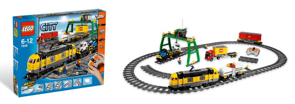 E-Lok, 3x Güterwagen, Containercran, LKW, Gleisoval mit Weichen