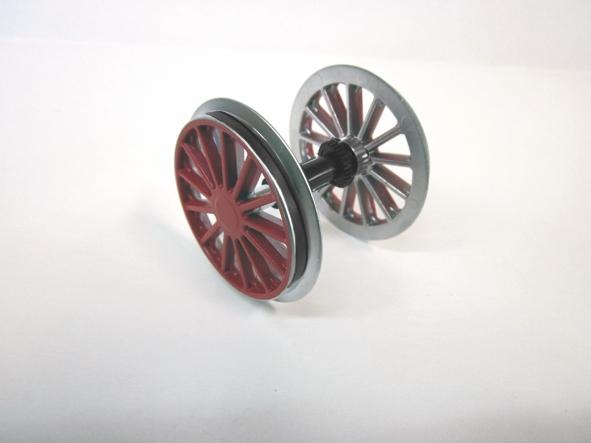 Radsatz mit Haftreifen, verchromt, rot