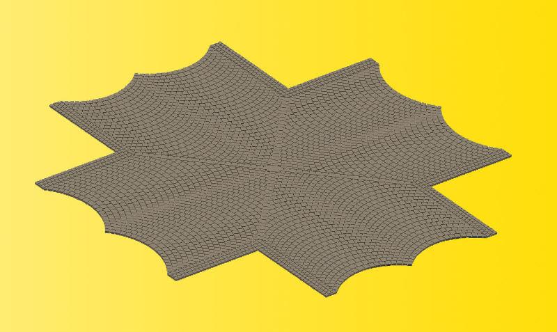 Straßenplatte Kopfsteinpflaster, X-Kreuzung