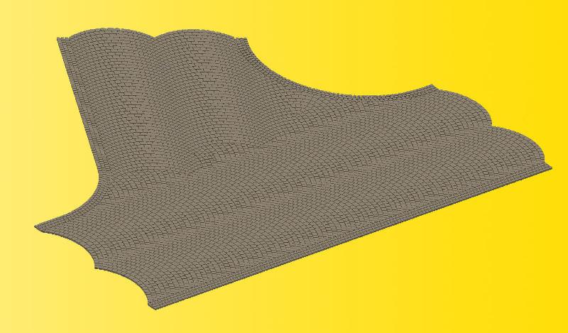 Straßenplatte Kopfsteinpflaster, 60 Grad Einmündung