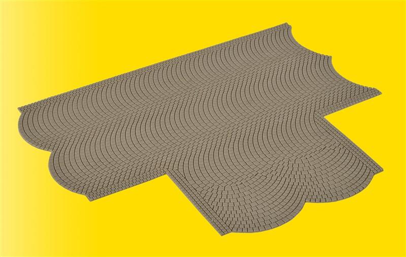 Straßenplatte Kopfsteinpflaster, 90 Grad Einmündung