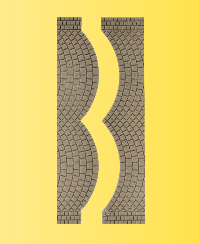 Straßenplatte Kopfsteinpflaster, je 2 Endstücke