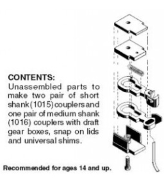 #1015 Short Shank Body Mount Coupler Pack (10), - brown -