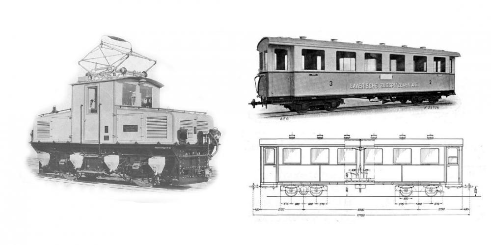 Zugspitzbahn AEG Tallok mit 2 Wagen (H0e)