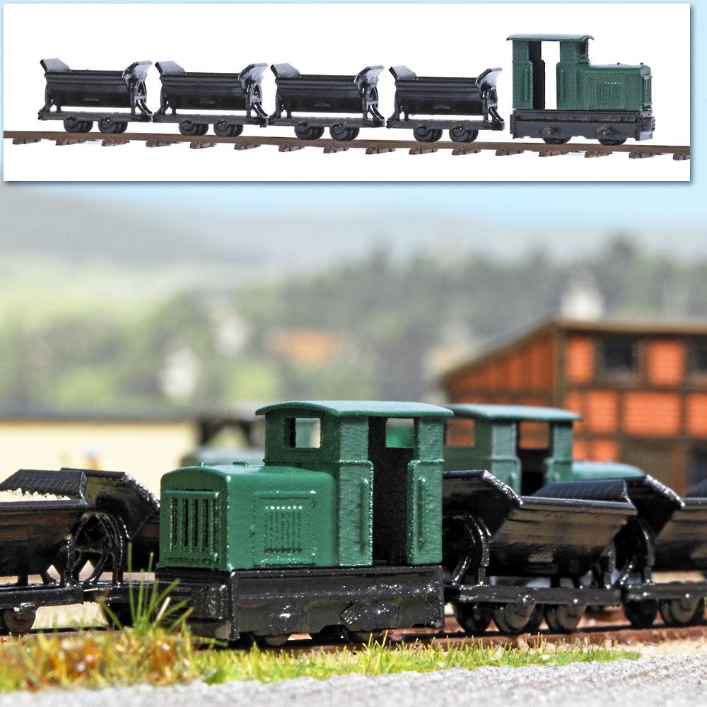 Diesellok (ohne Antrieb), 4 Kipploren, Schienen