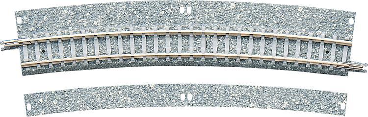 2 Gebogene Gleise mit breitem Schotterbett