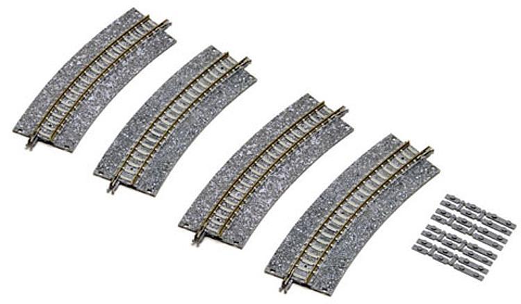 4 Gebogene Gleise mit breitem Schotterbett