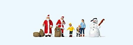 Weihnachtsmänner, Kinder, Schneemann