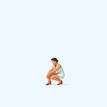 Frau, Schuhe anziehend