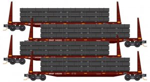 4x 61' Bulkhead Flatcar,  w/pipe load